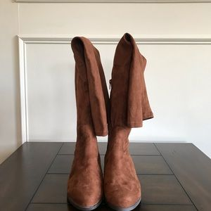 Brown faux suede over-the-knee boots, size 9